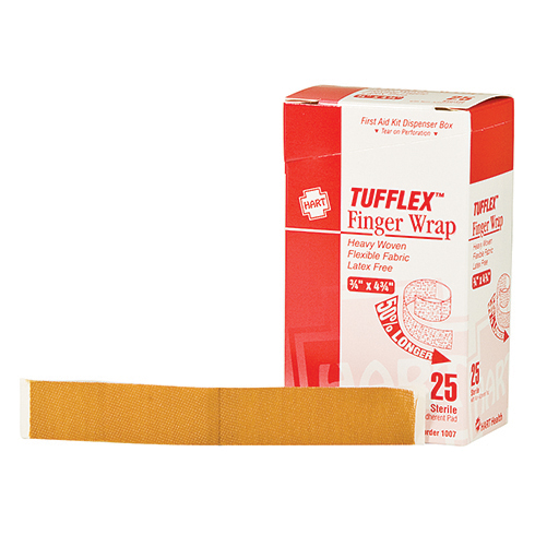 Tufflex, Finger Wrap Adhesive Bandages, Heavy Woven Elastic Cloth, 25 per box