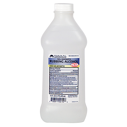 Alcohol, Isopropyl 70%, Swans, 16 oz bottle